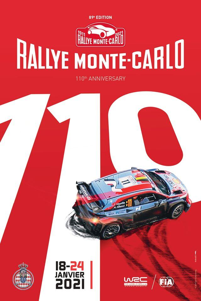 Affiche Rallye Monte Carlo 2021   Pilote de Course