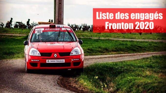 Engagés Rallye des Côtes du Frontonnais 2020