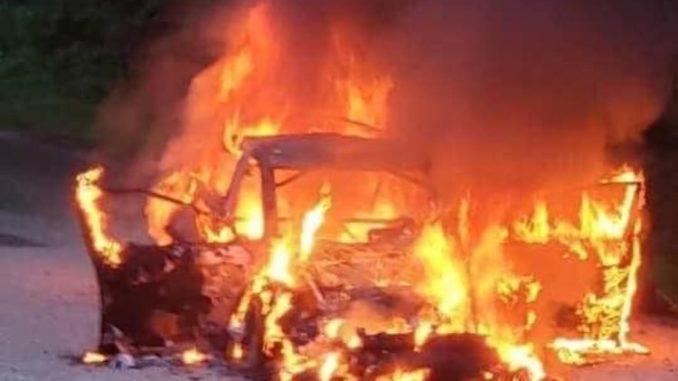 Subaru détruite par le feu pour Travis Pastrana