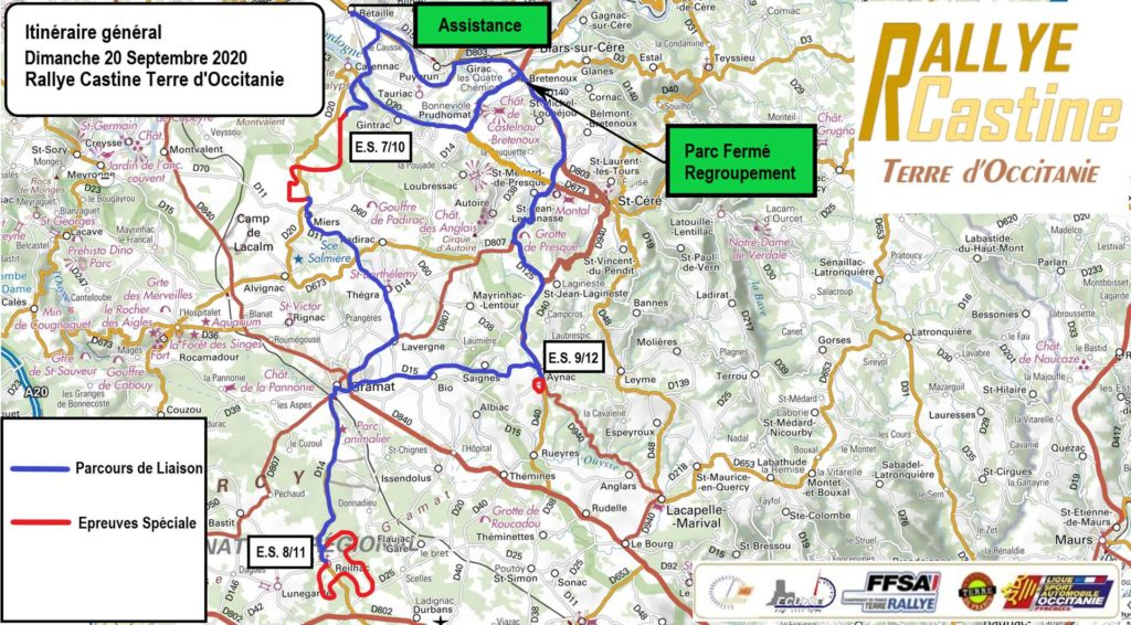 Carte du Rallye Castine Terre d'Occitanie 2020