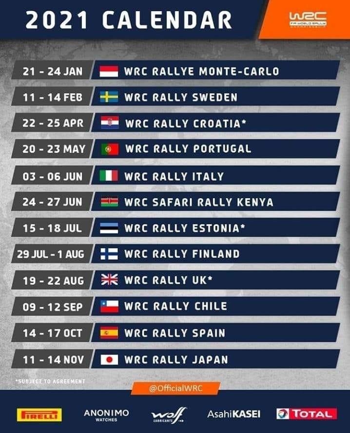 calendrier prévisionel WRC 2021