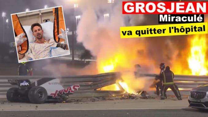 Romain Grosjean devrait quitter l'hôpital dès ce mardi