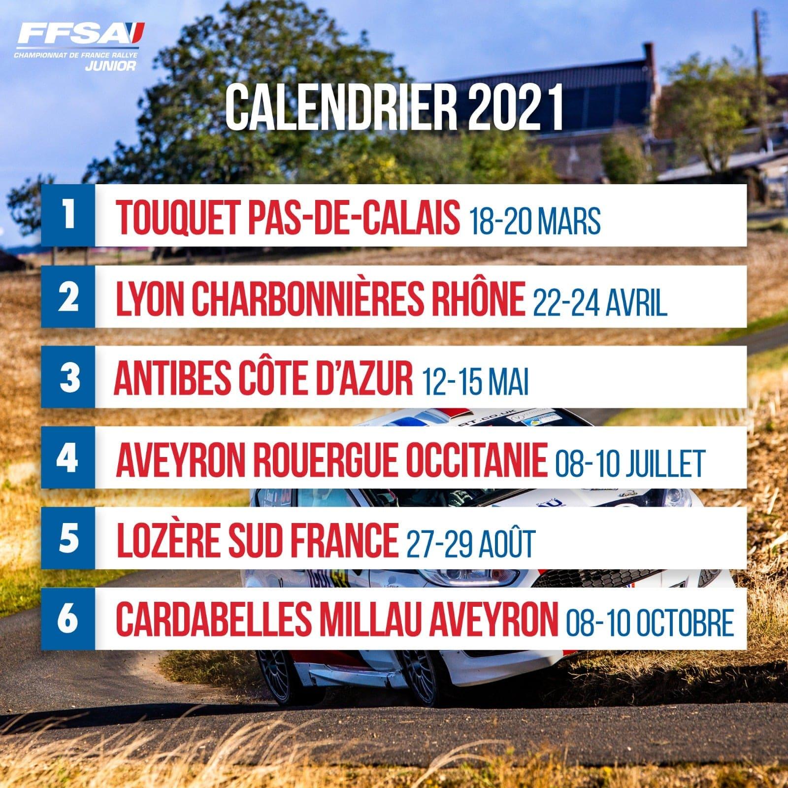 Calendrier du Championnat de France des Rallyes Junior 2021