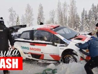 Sortiede Takamoto Katsuta en essais avant l'Arctic Rally Finland