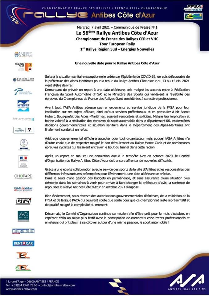 Rallye Antibes 2021 reporté