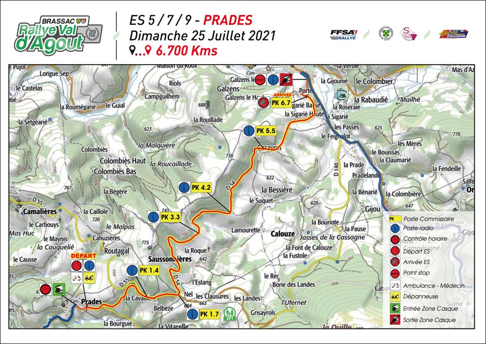 carte ES5 Prades Rallye Val d'Agout 2021