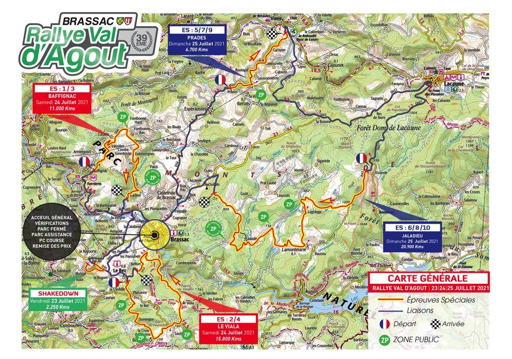 Carte générale Rallye Val d'Agout 2021
